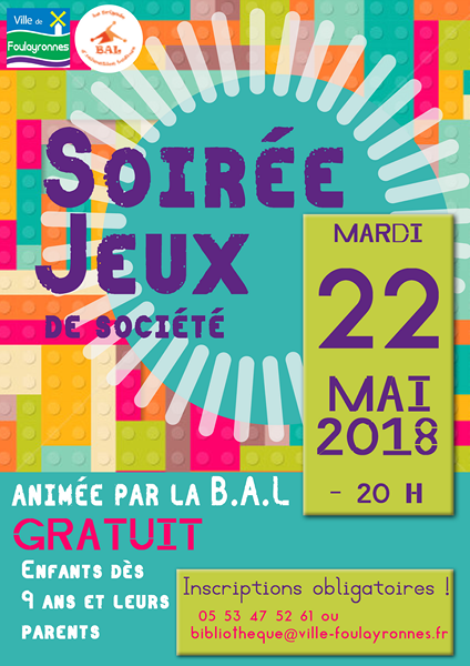 Affiche Soirée jeux du 22 mai 2018
